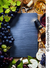 Wine, grape and cheese - Food background with Wine, cheese...