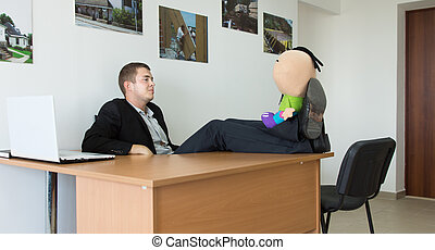 Office Man Relaxing with Stuffed Toy on His Feet - Office...