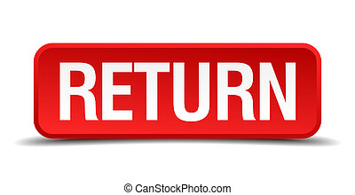 Return red 3d square button isolated on white