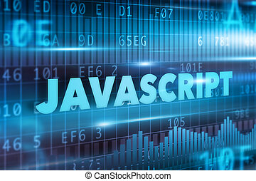 Javascript concept blue background with blue text