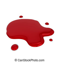 Blood puddle 3d illustration isolated on white background