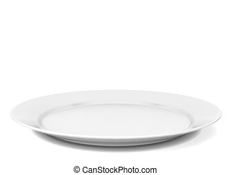 Empty plate 3d illustration isolated on white background