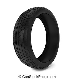 Black tire. 3d illustration isolated on white background