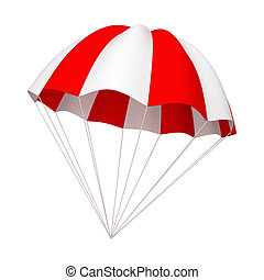 Red and white parachute. 3d illustration isolated on white...