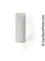 Candle on white - A burning candle isolated on white...