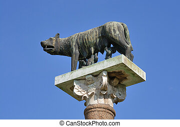 Romulus and Remus statue in Pisa, Italy - Romulus and Remus...