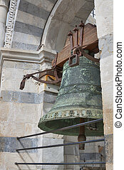 Bell in Leaning Tower of Pisa. Tuscany, Italy.