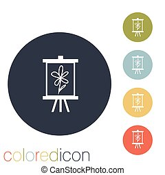 Easel with picture. Icon painting. school symbol