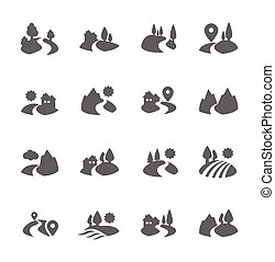 Land Icons - Simple Set of Land Related Vector Icons for...