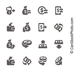 Money Moving Icons - Simple Set of Money Related Vector...