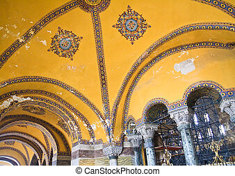 The interiors of the Hagia Sophia in Istanbul. Multi-layered...