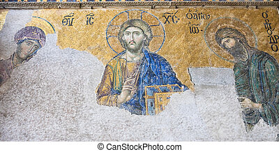 Mosaic of Christ Pantocrator in the south gallery of Hagia...