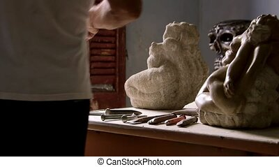 Sculptor, artist, art, craftsman - Men and professions,...
