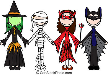 Happy kids - Kids holding hands in Halloween costumes