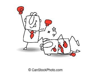 Business Fight club - Joe is the winner. He knocked John....