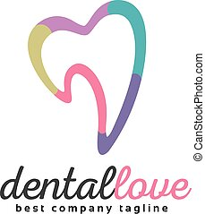 Abstract vector tooth logo icon similar human heart concept...