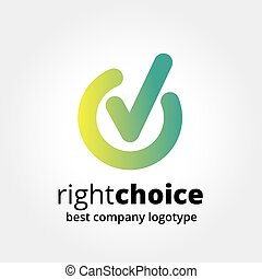 Abstract vector check in logotype concept isolated on white background. Key ideas is business, abstract, check in, voiting, choice, marker, design. Concept for corporate identity and branding