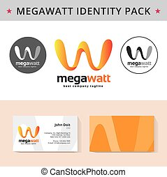 Abstract letter W identity pack vector concept. Logo, vizit...