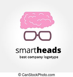Abstract vector brain with glasses logotype concept isolated...