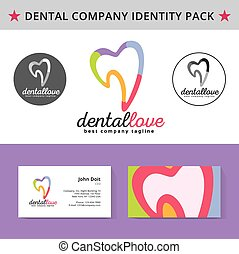 Abstract dentist tooth identity pack vector concept Logo,...