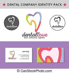 abstratos, odontólogo, dente, identidade, pacote,...