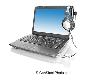 home laptop with stereo headset - modern laptop with stereo...