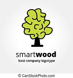 Abstract vector brain similar to green tree logotype concept...