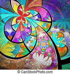 Symmetric colorful one fractal flower, digital artwork -...