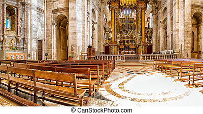Interior of the Estrela Basilica in Lisbon, Portugal - Altar...