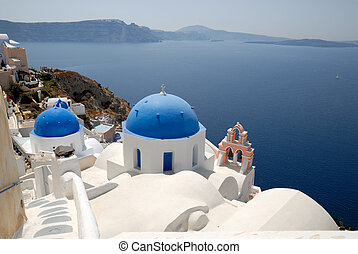 View from town Oia in Santorini, Greece
