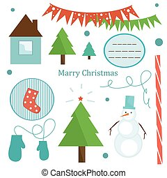 Set of Christmas elements - Cute set of Christmas tree...
