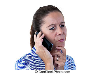 Middle Aged Business Woman Thinking While on the Phone -...