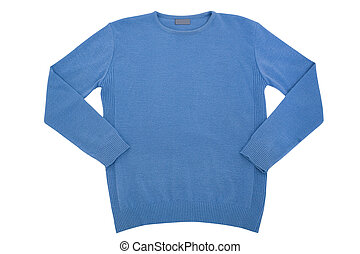 sweater isolated - Fashionable clothes blue mans sweater...