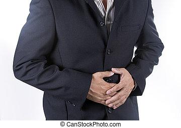 hombre de negocios, sufrimiento, De, Un, Estómago,