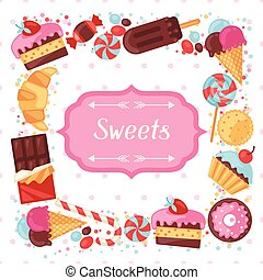 Background with colorful various candy, sweets and cakes.