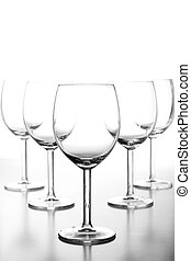 Empty wine glasses - Isolated wine glasses on white