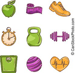 Fitness sketch line icons - Fitness bodybuilding diet...