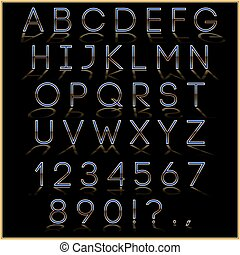 Vector blue alphabet letter, digits and punctuation signs...