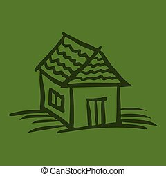 House sketch on green background