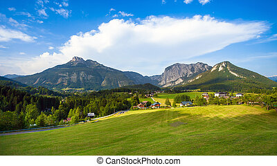 A beautiful view of the austrian alps with typical mountain...