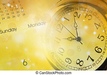 Time management - Watch, calendar and abstract background