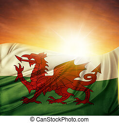 Flag and sky - Welsh flag in front of bright sky