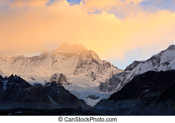 sunrise in the mountains Cho Oyu, Himalayas, Nepal