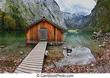 Boathouse - Cloudy day at Lake Koenigssee. Boathouse...