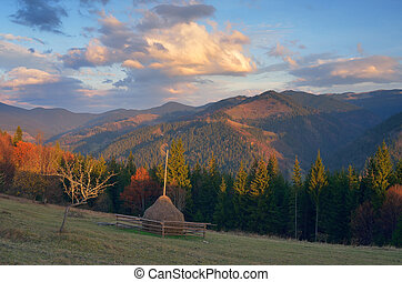 Village is in the mountains - Autumn landscape Mountain...