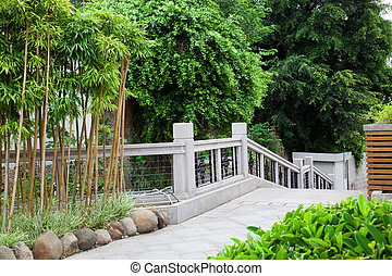 Footpath through garden in China