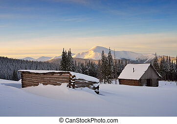 Hut in the mountains in winter