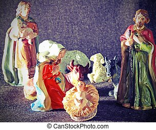 child Jesus in the manger with a shepherd