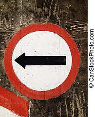 Street sign turn Left on the wall