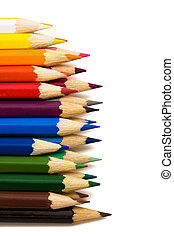 color pencils - Beautiful color pencils on a white...